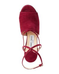 Jimmy Choo - Red Dark Wine Flora Crisscross Peep Toe Shoes - Lyst