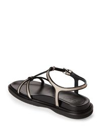 Marni - Platinum & Black Fussbett Leather Sandals - Lyst