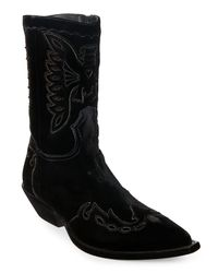 Givenchy - Black Velvet Pointed Toe Cowboy Boots for Men - Lyst