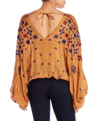 Free People - Brown Music In Time Embroidered Blouse - Lyst