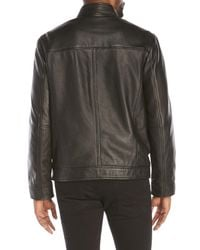 Cole Haan - Black Smooth Leather Moto Jacket for Men - Lyst