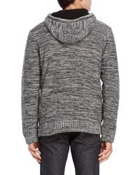 Buffalo David Bitton - Gray Cable Knit Zip Front Sweater for Men - Lyst