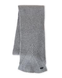 John Varvatos - Gray Wool Rib Knit Scarf for Men - Lyst