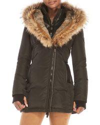 Nicole Benisti - Black Real Fur Trim Hooded Down Coat - Lyst