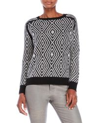 Shae | Black Diamond Pattern Knit Sweater | Lyst