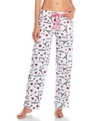 Rene Rofe - White Fleece Drawstring Pajama Pants - Lyst