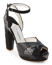 Terry De Havilland - Black & Silver Glitter Zia Platform Sandals - Lyst
