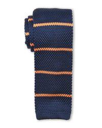 Burma Bibas | Blue Bar Stripe Textured Knit Tie for Men | Lyst