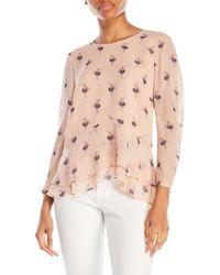 a.moss - Pink Ballerina Print Silk Blouse - Lyst