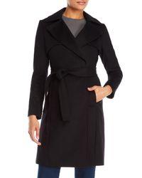 Karen Millen - Black Belted Wool Trench Coat - Lyst