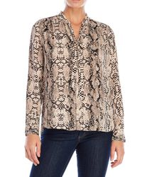NYDJ - Brown Tie Neck Blouse - Lyst