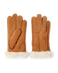 Ugg - Brown Classic Perforated Real Fur Shearling Gloves - Lyst