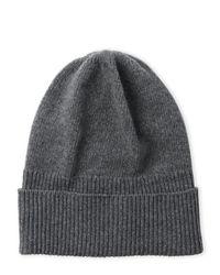 Portolano   Gray Solid Cashmere Ribbed Cuff Hat   Lyst
