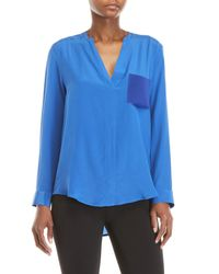 Sandro - Blue Esteline Textured Pocket Top - Lyst