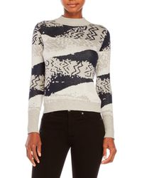 Shae | Gray Mock Neck Pattered Sweater | Lyst