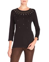 Rafaella - Black Beaded Three-Quarter Sleeve Sweater - Lyst
