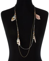 pannee by panacea - Multicolor Pink Feather Dipped Strand Necklace - Lyst