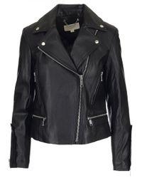MICHAEL Michael Kors - Black Leather Biker Jacket - Lyst