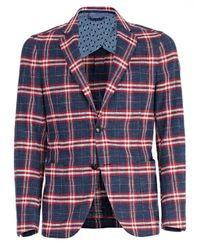 Etro - Blue Tartan Check Tailored Jacket for Men - Lyst