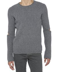 Helmut Lang - Gray Ribbed Elbow Cut-out Sweater for Men - Lyst