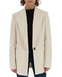 Helmut Lang - White Short Buttoned Coat - Lyst
