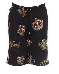 Dolce & Gabbana - Black Crown Print Track Shorts for Men - Lyst
