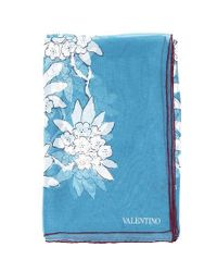 Valentino - Blue Floral Print Scarf - Lyst