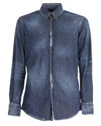 DSquared² Blue Distressed Denim Shirt for men