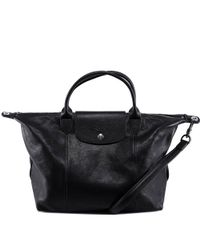 Longchamp - Black Le Pliage Cuir Top Handle Bag - Lyst