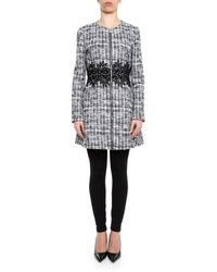 Moncler Gamme Rouge - Gray Embroidered Waist Tweed Coat - Lyst