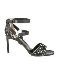 Valentino - Black Garavani Rockstud Quilted Sandals - Lyst
