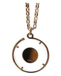 Chloé - Metallic Terry Logo Charm Necklace - Lyst