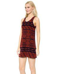 Tess Giberson - Pink Ripple Jacquard Dress - Coral/navy - Lyst