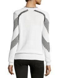 Thakoon - White Long-sleeve Chevron Sweater - Lyst