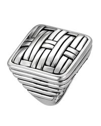 John Hardy - Metallic Bedeg Silver Square Ring - Lyst