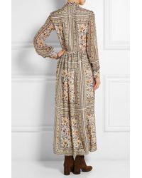Saint Laurent - Multicolor Printed Silk-Chiffon Dress - Lyst
