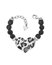 Guess | White Feline Instinct Leo Heart Bead Bracelet | Lyst