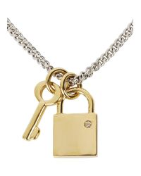 Marc By Marc Jacobs - Metallic Lost And Found Lock And Key Necklace - Lyst