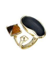Alexis Bittar | Black Liquid Bezel Pyramid & Tiger Eye Cocktail Ring | Lyst