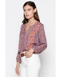 Joie | Pink Pazima Floral-print Silk Top | Lyst