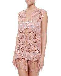 Miguelina | Pink Watson Fringe-Hem Lace Coverup | Lyst