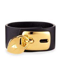 Valentino | Black Leather Padlock Cuff Bracelet | Lyst