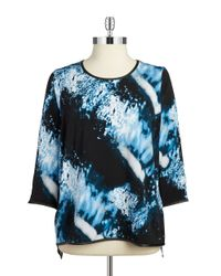 Calvin Klein | Black Plus Printed Top | Lyst
