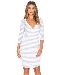 Sundry - Natural Striped 3/4 Henley Dress - Lyst
