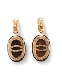 Oscar de la Renta - Multicolor Wooden Crystal Clip-on Earrings - Lyst
