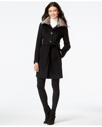 Calvin Klein | Black Faux-fur-collar Belted Peacoat | Lyst