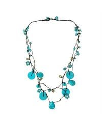 Aeravida - Blue Flowing Cascades Turquoise Stone Necklace - Lyst