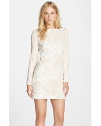 Dress the Population | White Violet Sequined Mini Dress | Lyst