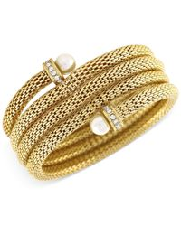 BCBGeneration | Metallic Gold-tone Faux Pearl Coiled Bracelet | Lyst
