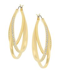 Swarovski | Metallic Spiral Goldtone And Crystal Drop Earrings | Lyst